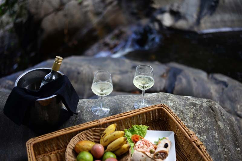 Waterfall picnic hamper lunch
